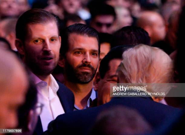 Eric Trump Donald Trump jr join their father US president Donald Trump to watch the Ultimate Fighting Championship at Madison Square Garden in New...