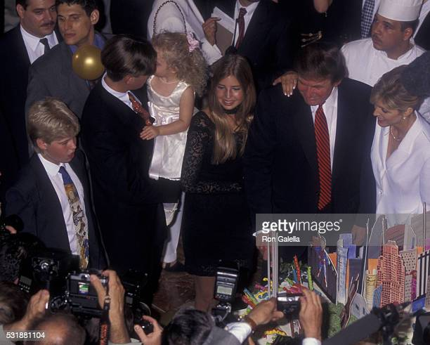 Eric Trump Donald Trump Jr Tiffany Trump Ivanka Trump Donald Trump and Marla Maples attend 50th Birthday Party for Donald Trump on June 13 1996 at...