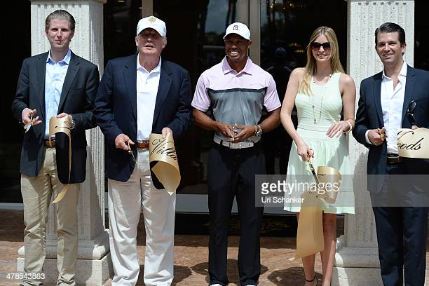 Eric Trump Donald Trump Tiger Woods Ivanka Trump and Donald Trump Jr are sighted on March 5 2014 in Miami Beach Florida