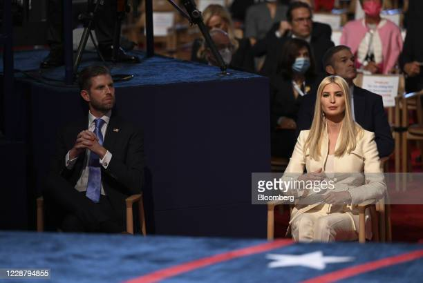 Eric Trump executive vice president of Trump Organization Inc left and Ivanka Trump assistant to US President Donald Trump attend the first US...