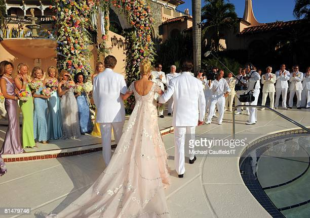 Eric Trump Ivana Trump and Donald Trump Jr during the wedding of Ivana Trump and Rossano Rubicondi at the MaraLago Club on April 12 2008 in Palm...