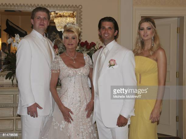 Eric Trump Ivana Trump Donald Trump Jr and Ivanka Trump before the wedding of Ivana Trump and Rossano Rubicondi at the MaraLago Club on April 12 2008...