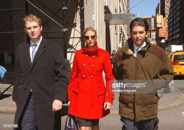Eric Trump Ivanka Trump and Donald Trump Jr walk through midtown on March 30 2007 in New York City