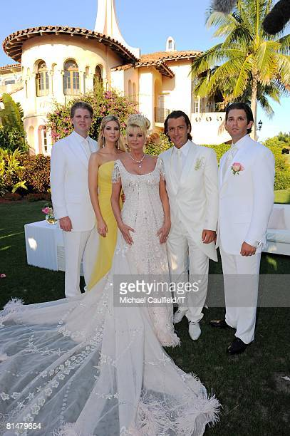 Eric Trump Ivanka Trump Ivana Trump Rossano Rubicondi and Donald Trump Jr after their wedding at the MaraLago Club on April 12 2008 in Palm Beach...
