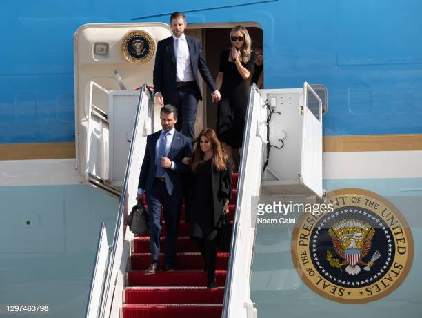 Eric Trump, Lara Trump, Donald Trump Jr. And Kimberly Guilfoyle exit Air Force One at the Palm Beach International Airport on the way to Mar-a-Lago...