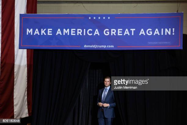 Eric Trump listens as his wife Lara addresses a crowd during President Donald J Trump's campaign rally at the Big Sandy Superstore Arena on August 3...