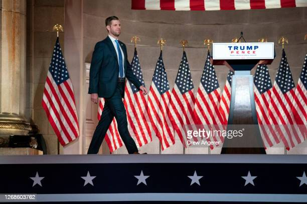 Eric Trump son of US President Donald Trump arrives onstage to prerecord his address to the Republican National Convention at the Mellon Auditorium...