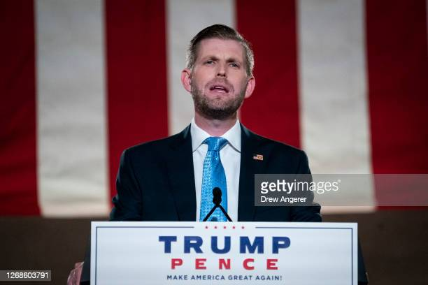 Eric Trump son of US President Donald Trump prerecords his address to the Republican National Convention at the Mellon Auditorium on August 25 2020...