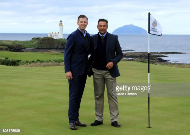 Eric Trump the EVP of the Trump Organisation and Martin Ebert of Mackenzie and Ebert the golf course architect pose for a photograph on the new 8th...