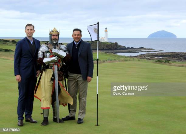 Eric Trump the EVP of the Trump Organisation and Martin Ebert of Mackenzie and Ebert the golf course architect pose for a photograph with 'King...