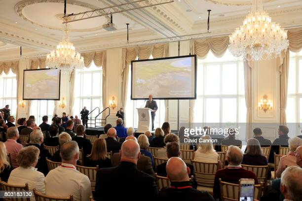 Eric Trump the EVP of the Trump Organisation during his speech in the Grand Ballroom at the official opening of the King Robert the Bruce Course at...