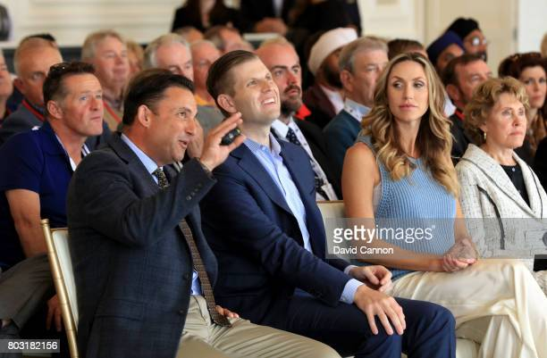 Eric Trump the EVP of the Trump Organisation his wife Lara and Martin Ebert of Mackenzie and Ebert the golf course architect listen to a speech in...