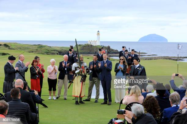Eric Trump the EVP of the Trump Organisation his wife Lara the captains of Turneberry Golf Club and Martin Ebert of Mackenzie and Ebert the golf...