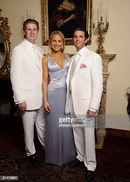RATES Eric Trump Vanessa Trump and Donald Trump Jr pose during the wedding of Ivana Trump and Rossano Rubicondi at the MaraLago Club on April 12 2008...