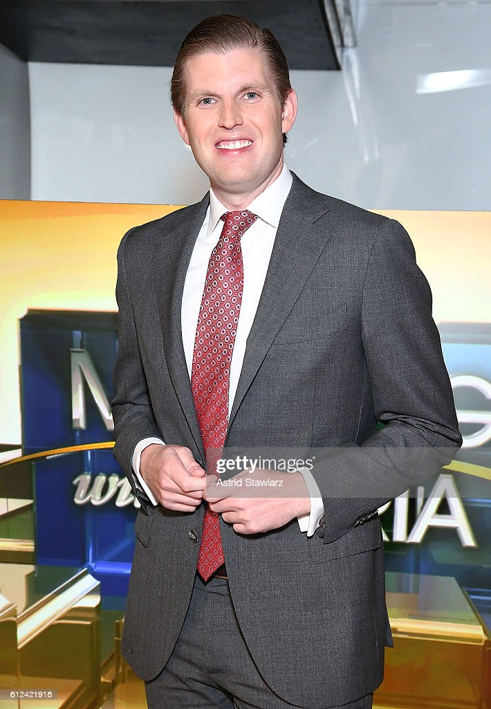 Eric Trump visits FOX Business Network's Maria Bartiromo at FOX Studios on October 4, 2016 in New York City.