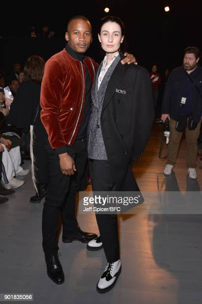 Eric Underwood and Erin O'Connor attend the Oliver Spencer show during London Fashion Week Men's January 2018 at BFC Show Space on January 6 2018 in...