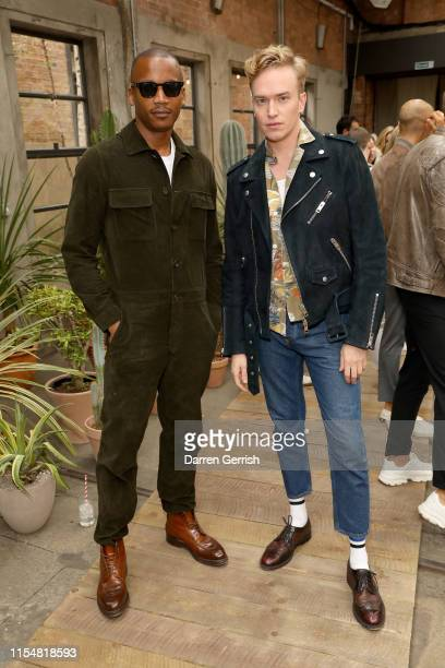 Eric Underwood and Fletcher Cowan attend Belstaff Spring Summer 20 at London Fashion Week Men's on June 09 2019 in London England