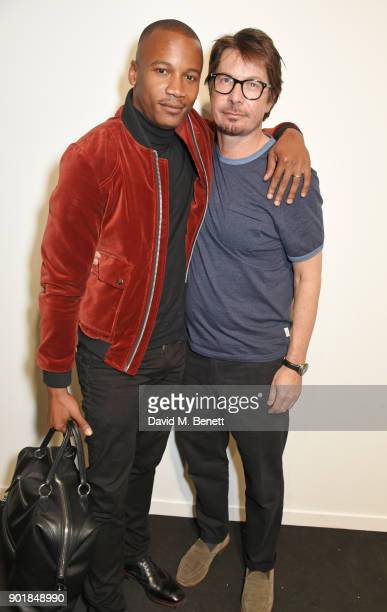 Eric Underwood and Oliver Spencer pose backstage at the Oliver Spencer LFWM AW18 Catwalk Show at the BFC Show Space on January 6 2018 in London...