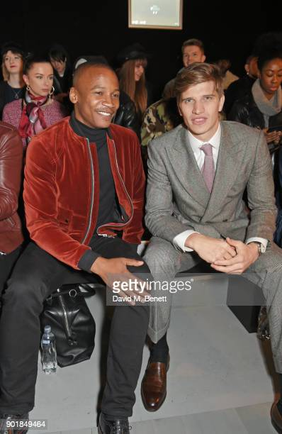 Eric Underwood and Toby HuntingtonWhiteley attend the Oliver Spencer LFWM AW18 Catwalk Show at the BFC Show Space on January 6 2018 in London England