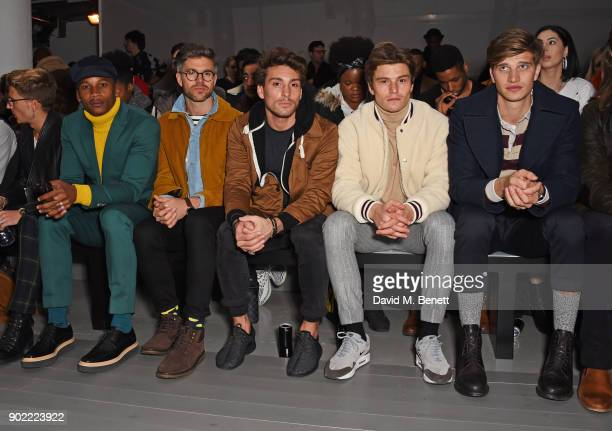 Eric Underwood, Darren Kennedy, Deano Bugatti, Oliver Cheshire and Toby Huntington-Whiteley attend the Christopher Raeburn show during London Fashion...