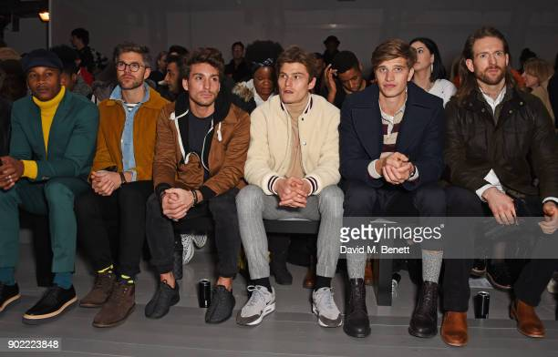 Eric Underwood Darren Kennedy Deano Bugatti Oliver Cheshire Toby HuntingtonWhiteley and Craig McGinlay attend the Christopher Raeburn show during...
