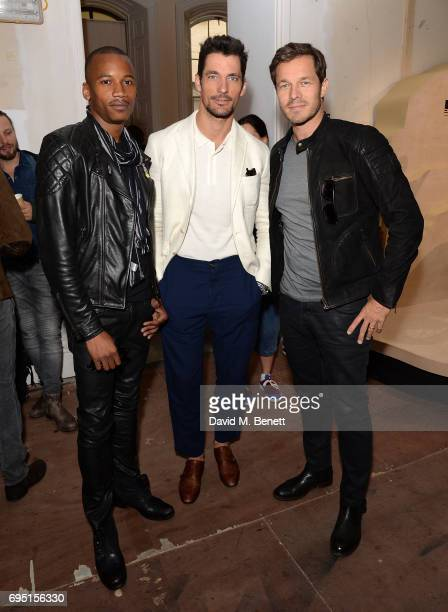 Eric Underwood David Gandy and Paul Sculfor attend the Belstaff Presentation during the London Fashion Week Men's June 2017 collections on June 12...