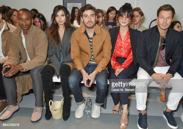 Eric Underwood Doina Ciobanu Robert Konjic Betty Bachz and Paul Sculfor attend the Oliver Spencer SS18 Catwalk Show during London Fashion Week Men's...