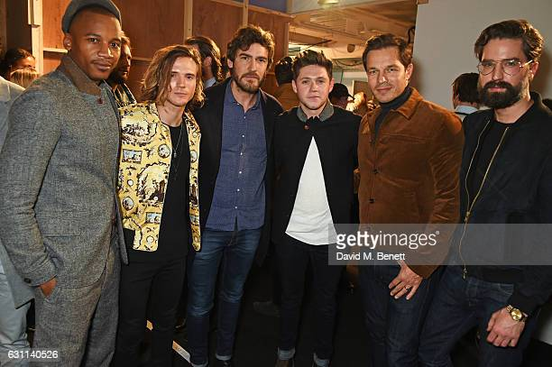 Eric Underwood Dougie Poynter Robert Konjic Niall Horan Paul Sculfor and Jack Guinness pose backstage at the Oliver Spencer AW17 Catwalk Show during...
