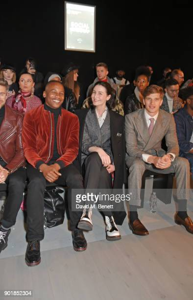 Eric Underwood Erin OÕConnor and Toby HuntingtonWhiteley sit in the front row at the Oliver Spencer LFWM AW18 Catwalk Show at the BFC Show Space on...