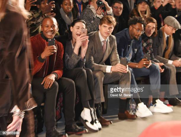 Eric Underwood Erin OÕConnor Toby HuntingtonWhiteley Jesiah Sampson Hector Bellerin Ollie Proudlock sit in the front row at the Oliver Spencer LFWM...