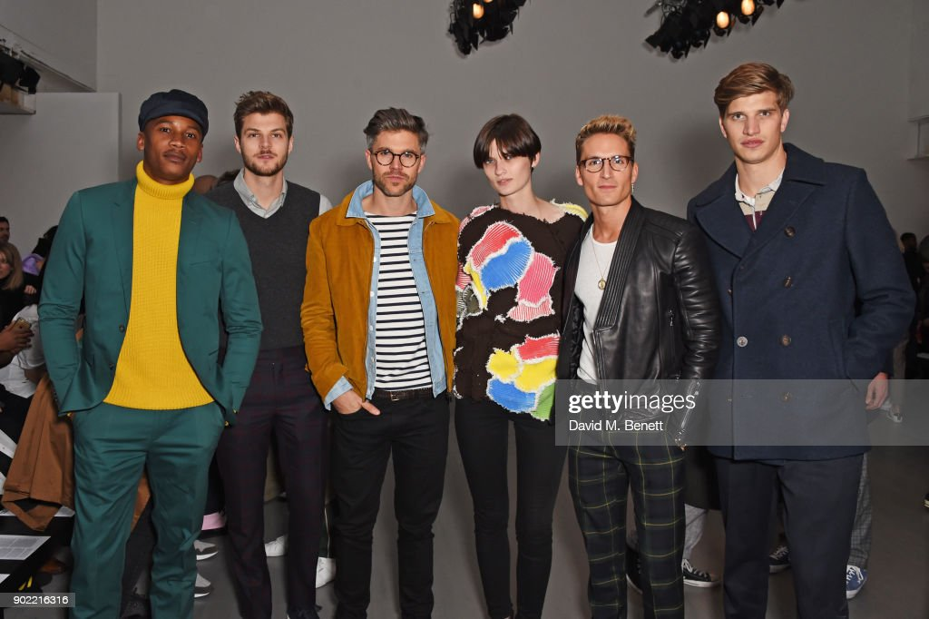 Eric Underwood, Jim Chapman, Darren Kennedy, Lara Mullen, Oliver Proudlock and Toby Huntington-Whiteley attend the Christopher Raeburn show during London Fashion Week Men's January 2018 at BFC Show Space on January 7, 2018 in London, England.