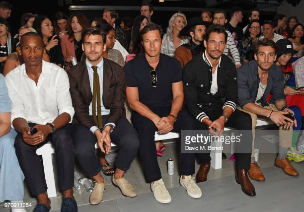 Eric Underwood Johannes Huebl Paul Sculfor David Gandy and Deano Bugatti attend the Christopher Raeburn show during London Fashion Week Men's June...