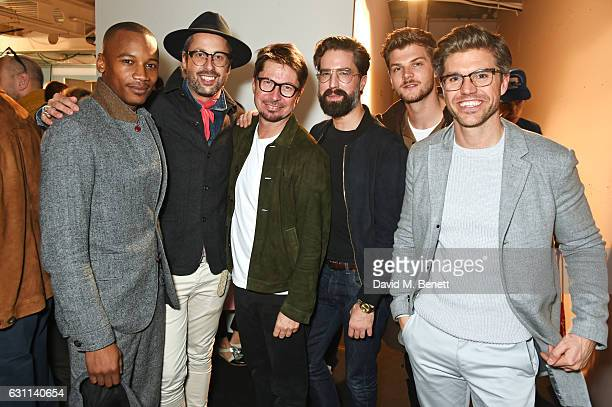 Eric Underwood Larry King Oliver Spencer Jack Guinness Jim Chapman and Darren Kennedy attend the Oliver Spencer AW17 Catwalk Show during London...