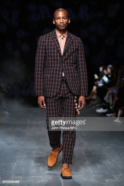 Eric Underwood walks the runway at the Oliver Spencer show during London Fashion Week Men's June 2018 at BFC Show Space on June 9 2018 in London...