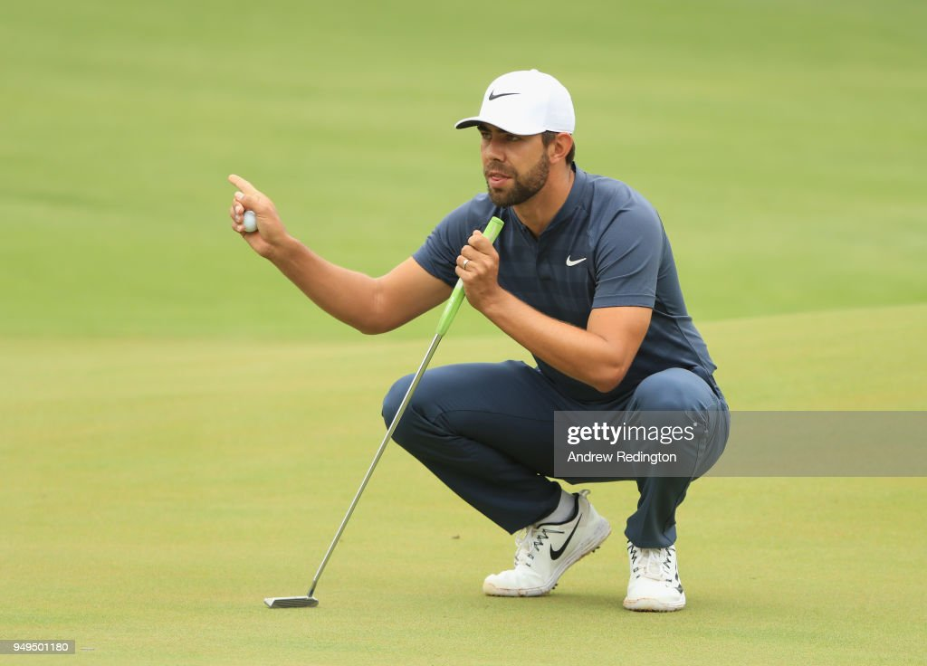 Eric Van Rooyen of South Africa lines up a putt on the first hole during the third round of the Trophee Hassan II at Royal Golf Dar Es Salam on April 21, 2018 in Rabat, Morocco.