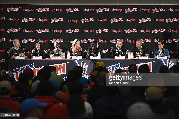 Eric Van Wagenen Ivelisse Rey Mysterio Jr Taya Catrina Marty Elias Skip Chaisson and Dorian Roldan speak onstage at Lucha Underground Panel at Javits...