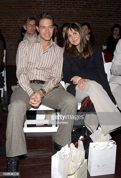 Eric Velancy and Sabine Heller during Olympus Fashion Week Fall 2004 Sebastian Pons Front Row at Angel Orensanz Foundation in New York City New York...