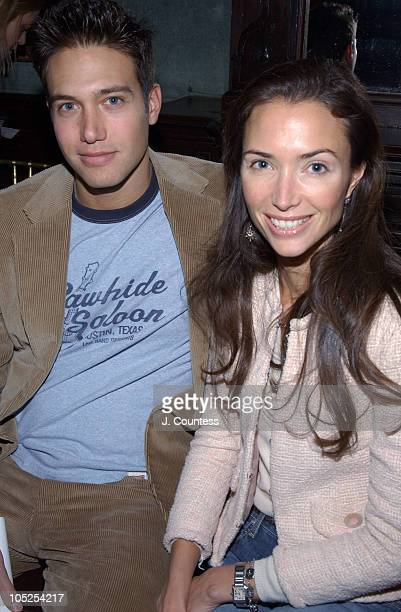 Eric Villency and Olivia Chantecaille during Olympus Fashion Week Fall 2004 - Derek Lam - Front Row and Backstage at National Arts Club in New York...