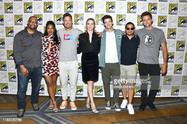 Eric Wallace Candice Patton Tom Cavanagh Danielle Panabaker Grant Gustin Carlos Valdes and Hartley Sawyer attends 2019 ComicCon International Day 3...