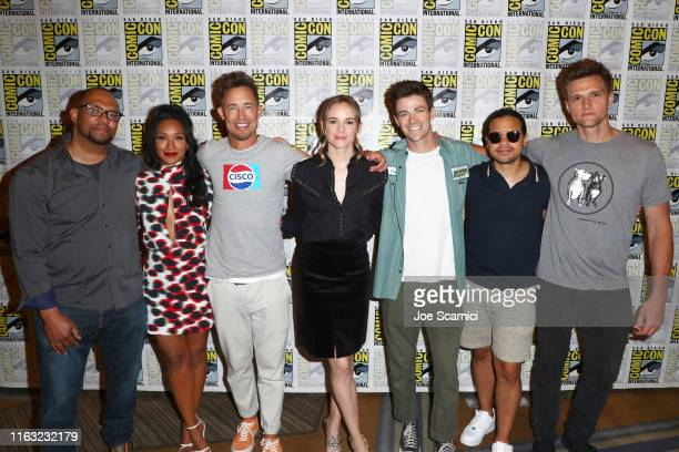 Eric Wallace Candice Patton Tom Cavanagh Danielle Panabaker Grant Gustin Carlos Valdes and Hartley Sawyer attend The Flash press line during 2019...