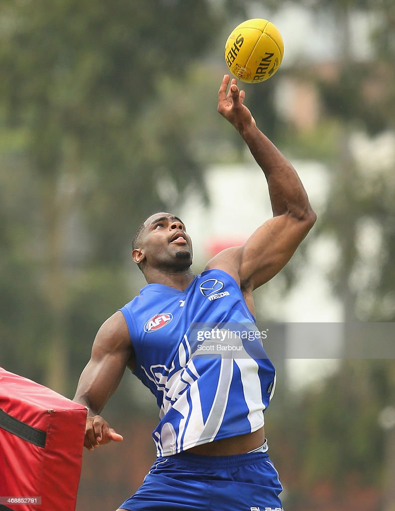 Eric Wallace competes for the ball during a North Melbourne Kangaroos AFL training session at Aegis Park on February 12, 2014 in Melbourne, Australia.