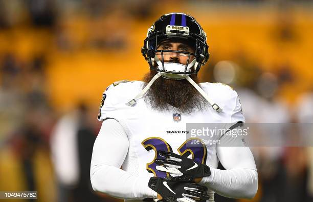 Eric Weddle of the Baltimore Ravens looks on during the game against the Pittsburgh Steelers at Heinz Field on September 30 2018 in Pittsburgh...