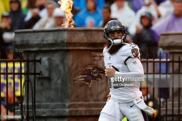Eric Weddle of the Baltimore Ravens takes the field prior to the game against the Buffalo Bills at MT Bank Stadium on September 9 2018 in Baltimore...