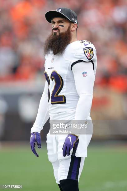 Eric Weddle of the Baltimore Ravens watches a play in the first quarter against the Cleveland Browns at FirstEnergy Stadium on October 7 2018 in...