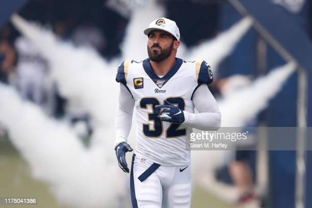 Eric Weddle of the Los Angeles Rams enters the stadium prior to a game against the New Orleans Saints at Los Angeles Memorial Coliseum on September...