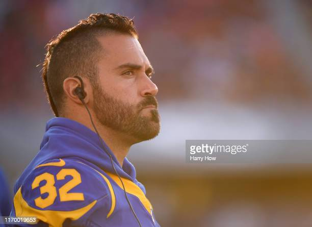 Eric Weddle of the Los Angeles Rams on the sidelines during a preseason game against the Denver Broncos at Los Angeles Memorial Coliseum on August...