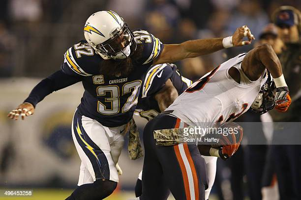 Eric Weddle of the San Diego Chargers defends against Jeremy Langford of the Chicago Bears at Qualcomm Stadium on November 9, 2015 in San Diego,...