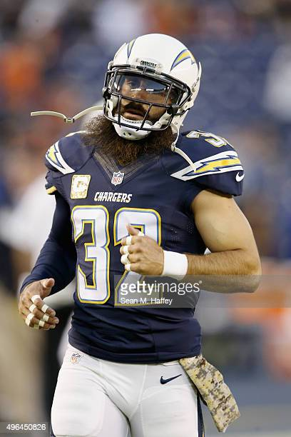 Eric Weddle of the San Diego Chargers warms up before a game against the Chicago Bears at Qualcomm Stadium on November 9 2015 in San Diego California