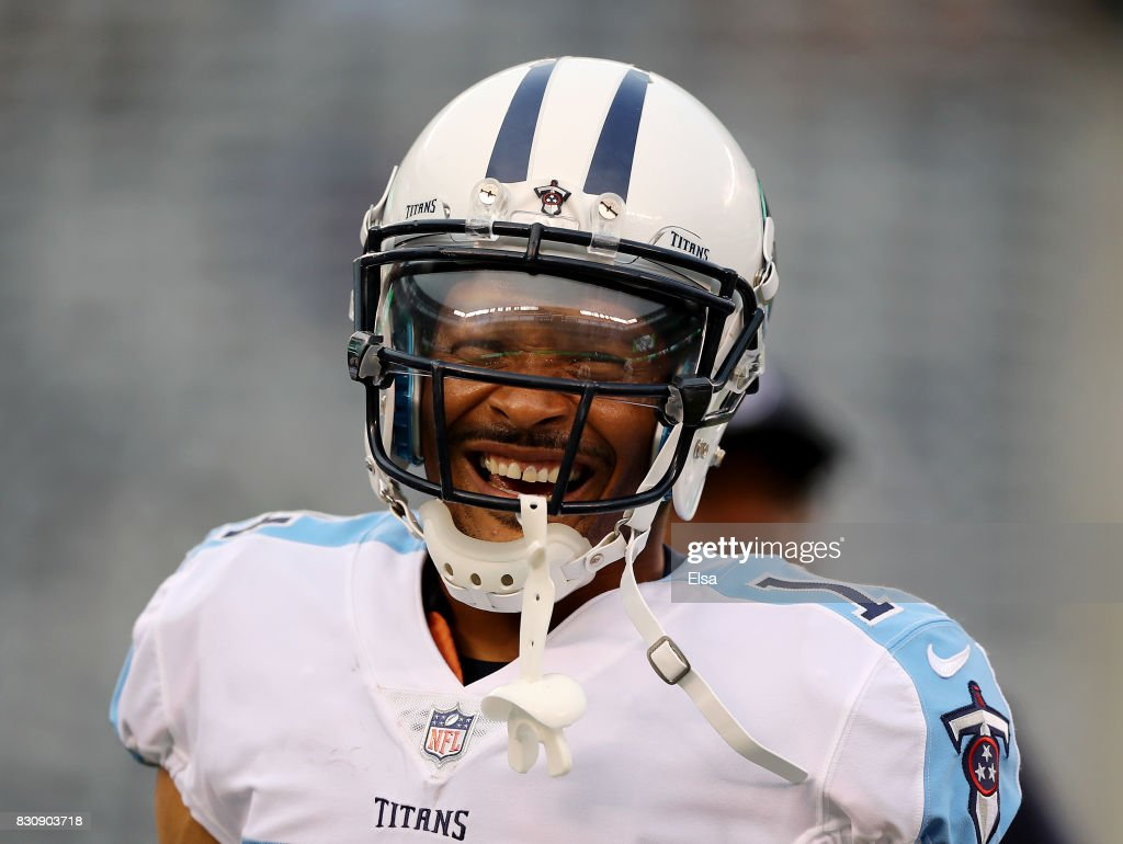 Eric Weems #14 of the Tennessee Titans looks on before a preseason game against the New York Jets at MetLife Stadium on August 12, 2017 in East Rutherford, New Jersey.