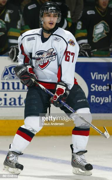 Eric Wellwood of the Windsor Spitfires skates in Game Two of the Western Conference Championship against the London Knights on April 17 2009 at the...
